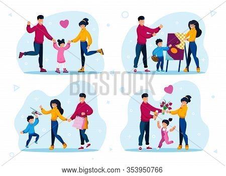 Happy Childhood Moments, Responsible Parenthood Scenes Trendy Flat Vector Concepts Set. Parents With