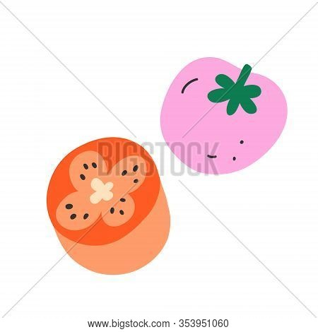 Doodle Tomato, Cute Vector Icon, Isolated Vector Illustration, Sweet Fresh Tomato Cut In Halves, Coo