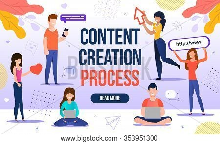 People Engaged In Content Creation Workflow Process. Digital Marketing For Blogging And Social Media