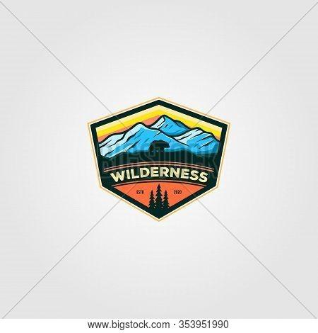 Wilderness Mountain Adventure Badge Vintage Logo Vector Illustration.