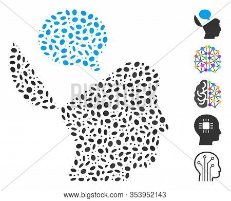 Dotted Mosaic Based On Open Mind Opinion. Mosaic Vector Open Mind Opinion Is Designed With Scattered
