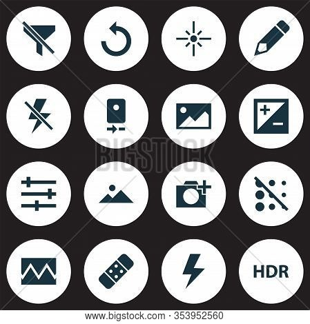 Image Icons Set With Filtration, Reload, Hdr And Other Plaster Elements. Isolated Illustration Image