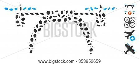 Dotted Mosaic Based On Copter. Mosaic Vector Copter Is Formed With Random Oval Dots.