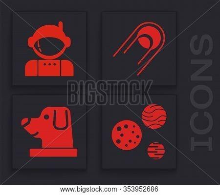 Set Planet, Astronaut, Satellite And Dog In Astronaut Helmet Icon. Vector