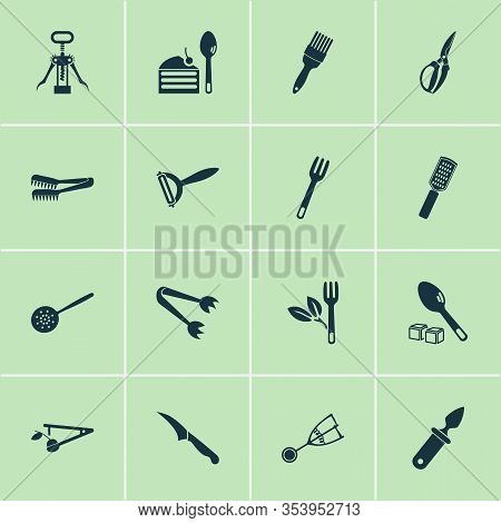 Kitchenware Icons Set With Zester, Gadget, Sharp And Other Salad Fork Elements. Isolated Vector Illu