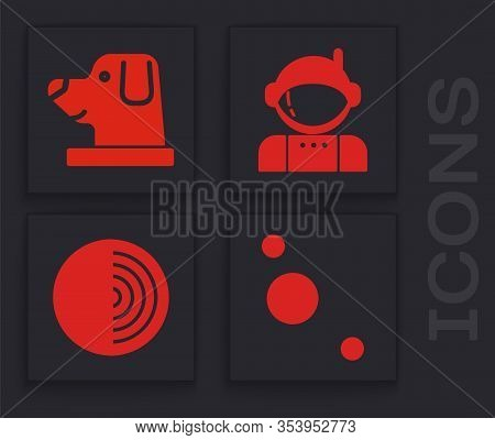 Set Solar System, Dog In Astronaut Helmet, Astronaut And Earth Structure Icon. Vector
