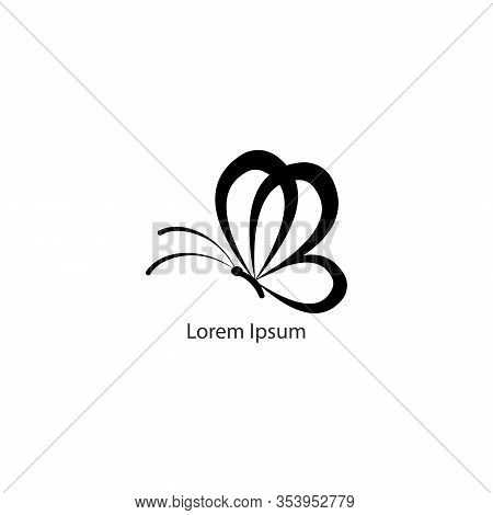 Abstract Flying Black Butterfly with rounded outline wings illustrated. Logo design template. Animal Logo Concept Isolated on White background. Solid Color. Editable Design Vector. Suitable for beauty and fashion product. Pictorial Logotype.