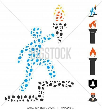 Dotted Mosaic Based On Leader With Torch. Mosaic Vector Leader With Torch Is Formed With Random Elli