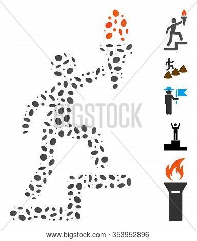Dotted Mosaic Based On Climbing Leader With Torch. Mosaic Vector Climbing Leader With Torch Is Compo