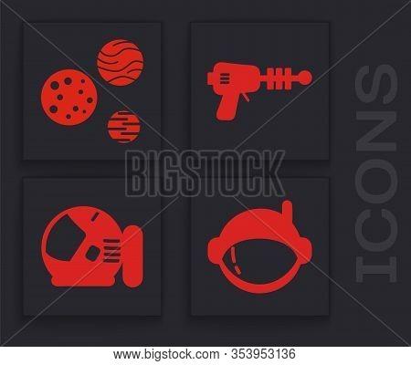 Set Astronaut Helmet, Planet, Ray Gun And Astronaut Helmet Icon. Vector