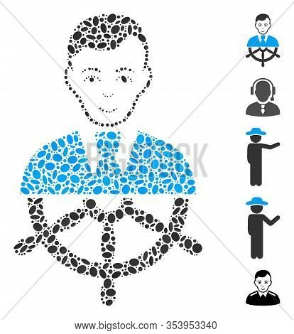 Dot Mosaic Based On Captain. Mosaic Vector Captain Is Formed With Scattered Oval Elements.