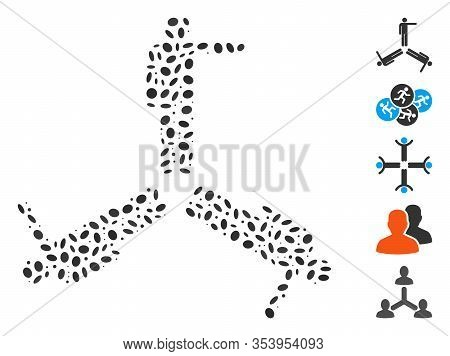 Dotted Mosaic Based On Three Pointing Men. Mosaic Vector Three Pointing Men Is Composed With Randomi