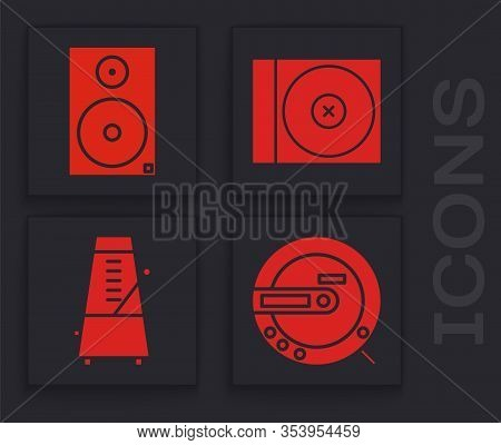 Set Music Cd Player, Stereo Speaker, Cd Or Dvd Disk And Metronome With Pendulum In Motion Icon. Vect