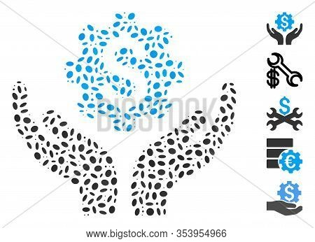 Dotted Mosaic Based On Maintenance Price. Mosaic Vector Maintenance Price Is Created With Random Ova