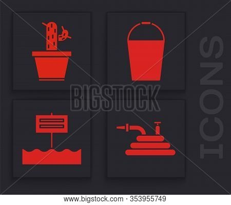 Set Garden Hose Or Fire Hose, Cactus And Succulent In Pot, Bucket And Blank Wooden Sign Board Icon.