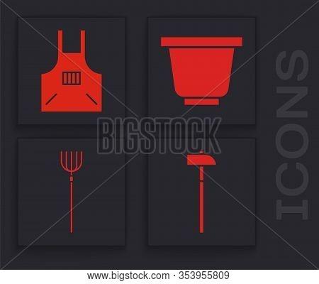 Set Hammer, Kitchen Apron, Flower Pot And Garden Pitchfork Icon. Vector