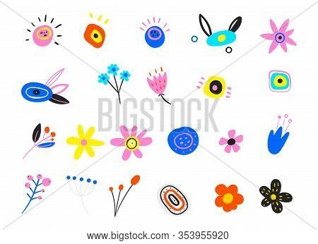 Set Of Floral Branch. Flower White Rose, Green Leaves. Set Of Flat Icon Flower Icons In Silhouette I