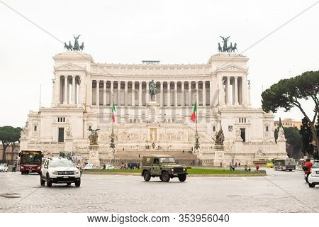 Rome. Italy - March 22, 2017: National Monument to Victor Emmanuel II or II Vittoriano in Piazza Venezia, Rome.