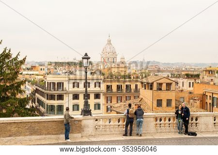 Rome. Italy - March 22, 2017: View to Rome from Piazza Trinita dei Monti. Cloudy Day.