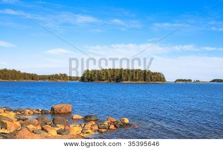 Picturesque landscape with island
