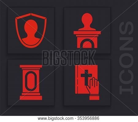 Set Oath On The Holy Bible, User Protection, Stage Stand Or Debate Podium Rostrum And Stage Stand Or