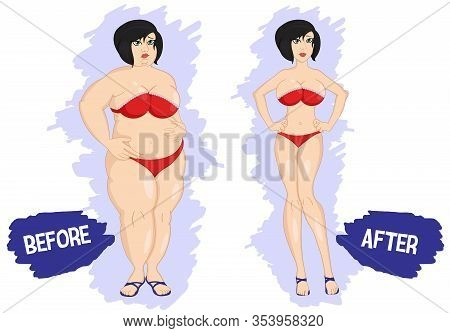 Before And After Weight Loss Fat And Slim Woman. Losing Weight. Dieting. Fat And Thin Woman Before A