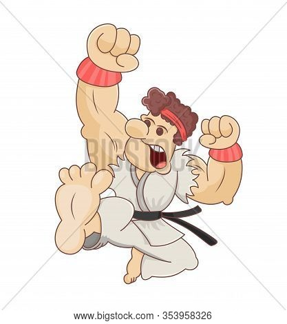 Funny Cartoon Martial Artist Performing A Flying Karate Kick. Design For Print, Emblem, T-shirt, Par