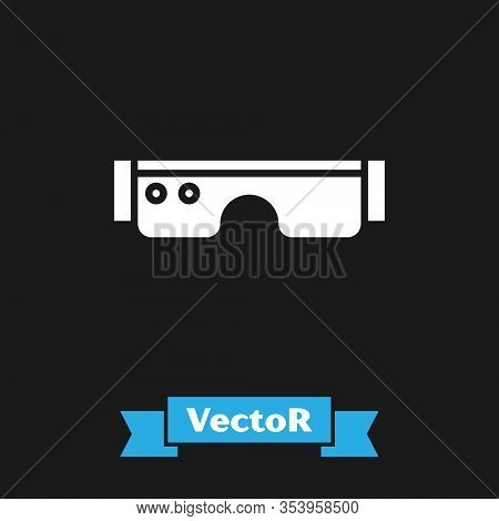 White Smart Glasses Mounted On Spectacles Icon Isolated On Black Background. Wearable Electronics Sm