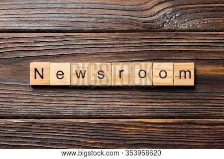 News Room Word Written On Wood Block. News Room Text On Wooden Table For Your Desing, Concept