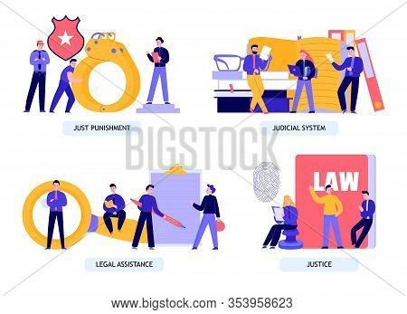 Law Justice Legal Assistance Judicial Penitentiary System Concept 4 Flat Compositions With Fingerpri