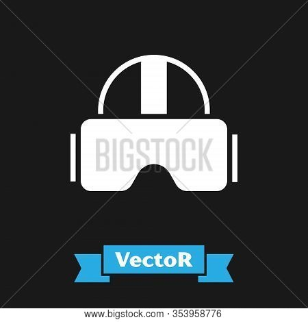 White Virtual Reality Glasses Icon Isolated On Black Background. Stereoscopic 3d Vr Mask. Vector Ill