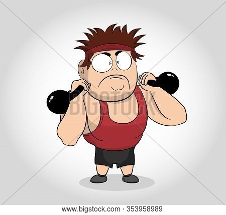 Strong Man In Sportswear Doing Workout With Kettlebell Weight. Cartoon Character Muscle Man With Ket