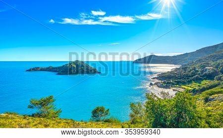 Porto Ercole, Isolotto Small Island And View Of The Coast. Monte Argentario, Maremma Grosseto Tuscan