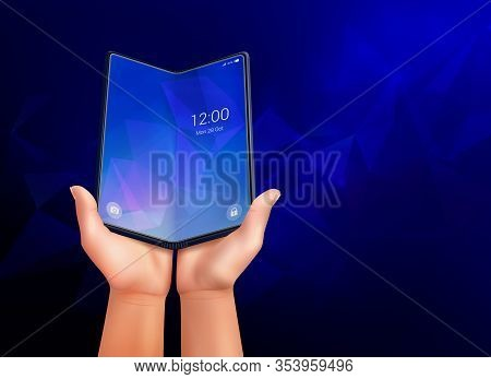 Foldable Smartphone Realistic Composition With Dark Blue Ambient Background And Open Phone Laying In