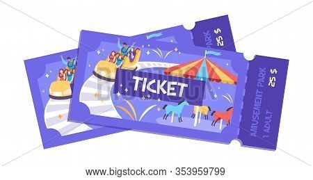Ticket Park Amusement Flat Composition With Entry Tickets For Fun Fair Park With Images And Text Vec