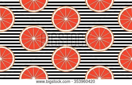 Seamless Background With Black Stripes And Slices Grapefruit. Vector Fruit Design For Pattern Or Tem