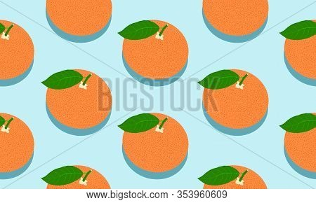 Seamless Blue Background With Red Grapefruit With Shadow. Vector Illustration Design For Greeting Ca