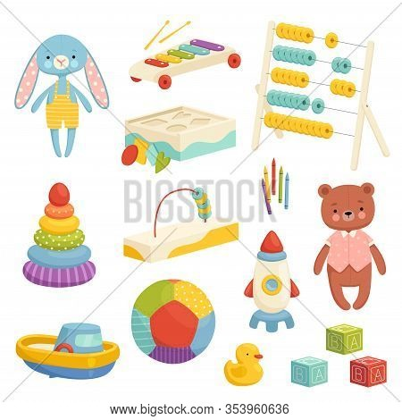 Set Of Different Bright Childrens Toys. Inventory For Childrens Games And Entertainment. Sports, Plu