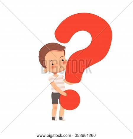 Little Cute Curious Boy Holds A Question Mark. The Child Asks Questions And Is Interested In The Wor