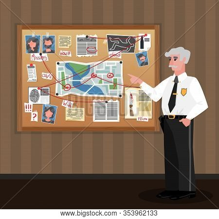 Detective Board Policeman Composition With Doodle Style Human Character Of Investigating Officer Loo