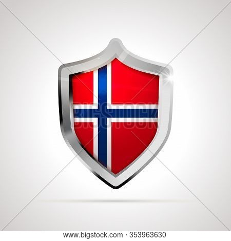 Norway Flag Projected As A Glossy Shield On A White Background