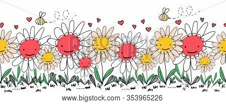Seamless Border Doodle Flowers, Bees And Ants. Kids Repeating Vector Border. Children Style Hand Dra