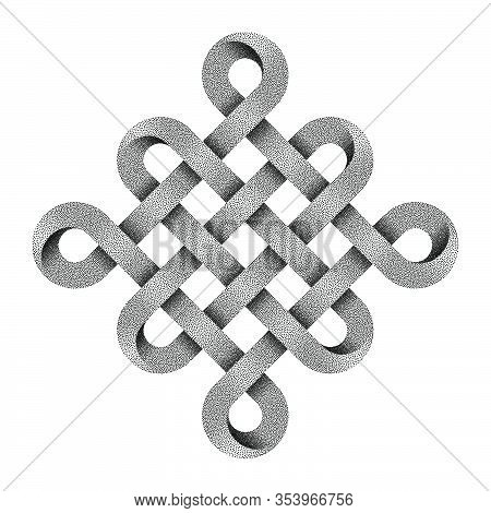 Chinese Endless Auspicious Knot Made Of Crossed Stippled Tapes.  Ancient Traditional Buddhist Symbol