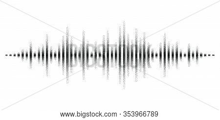 Abstract Sound Waves Stylized With Stippled Vanishing Columns. Dynamic Equalizer Visual Effect. Vect
