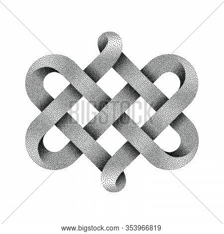 Celtic Knot Made Of Interweaved Moebius Stippled Tape As Two Twisted Hearts Symbol. Vector Illustrat