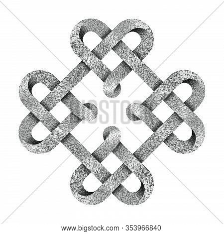 Symbol Of Four Hearts Made With Stippled Tapes Intertwined As Celtic Knot. Vector Illustration Isola