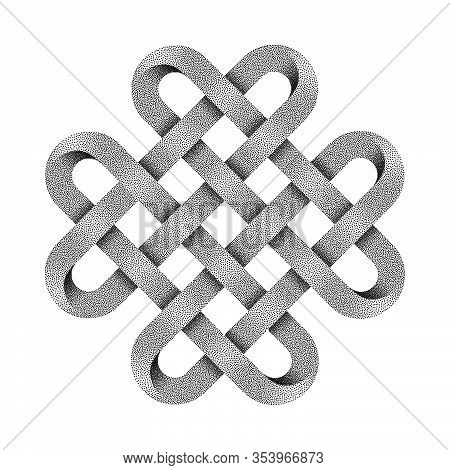 Quadruple Solomon Knot Made Of Crossed Stippled Tapes. Ancient Traditional Decorative Symbol. Vector