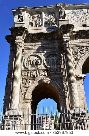 Arch Of Constantine Or Arco Di Constantino, The Largest Roman Triumphal Arch. Rome, Italy.