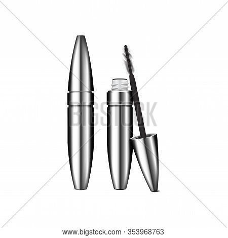 Mascara Brush. 3d Blank, Silver Mascara Closed And Open Tube With Brush. Vector Illustration Of Cosm