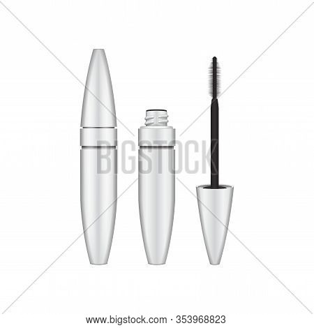 Mascara Brush. 3d Blank, White Mascara Closed And Open Tube With Brush. Vector Illustration Of Cosme